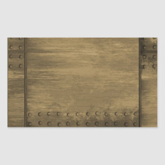 rivetted grungy gold metal plate rectangle stickers