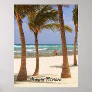 Riviera Maya Beach and Palm Trees Poster