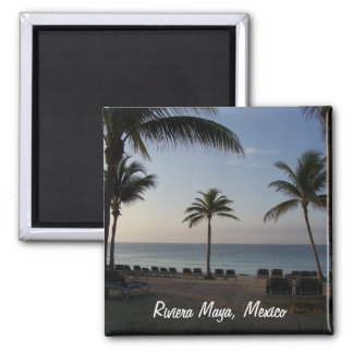 Riviera Maya Cancun Mexico Beach Vacation Square Magnet