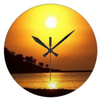 Riviera Maya Cancun Mexico Caribbean Sea at Dawn Large Clock