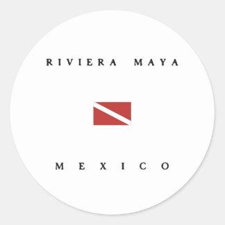 Riviera Maya Mexico Scuba Dive Flag Classic Round Sticker