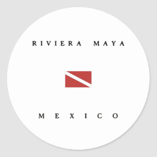 Riviera Maya Mexico Scuba Dive Flag Round Sticker