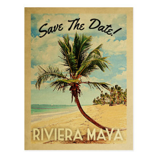 Riviera Maya Save The Date Vintage Beach Palm Tree Postcard