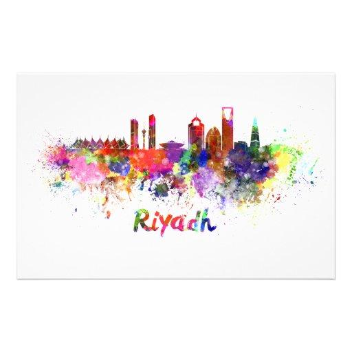 Riyadh skyline in watercolor stationery