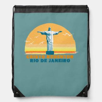 rj RiodeJaneiro Christ statue Drawstring Bag