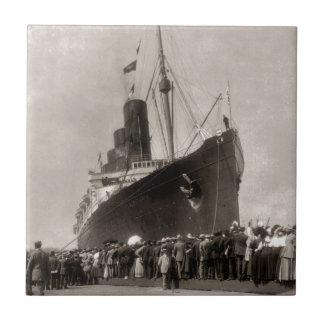 RMS Lusitania arrives New York City 1907 Ceramic Tiles