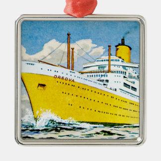 RMS Orsova at Sea Silver-Colored Square Decoration