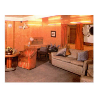 RMS Queen Mary First Class Sitting Area Postcard