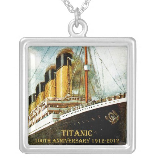 RMS Titanic 100th Anniversary Square Pendant Necklace