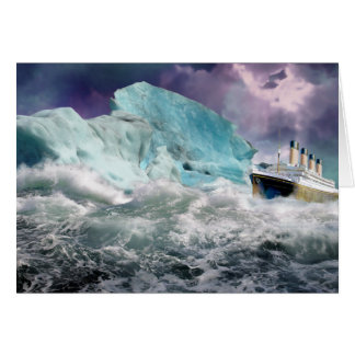 RMS Titanic and Iceberg Painting Card