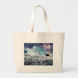RMS Titanic and Iceberg Painting Large Tote Bag
