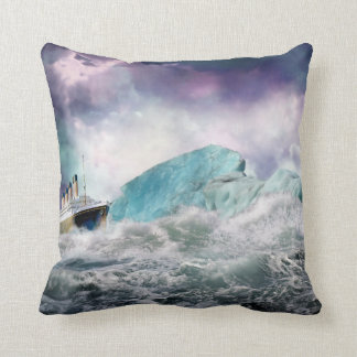 RMS Titanic and Iceberg Painting Pillow Cushion