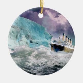 RMS Titanic and Iceberg Painting Round Ceramic Decoration