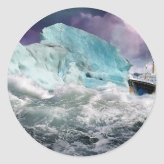RMS Titanic and Iceberg Painting Round Sticker