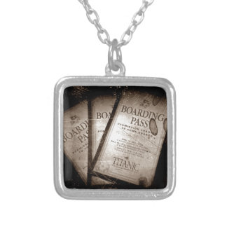 RMS Titanic Boarding Passes Square Pendant Necklace