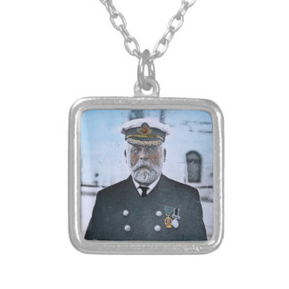 RMS Titanic Captain Edward J. Smith Square Pendant Necklace