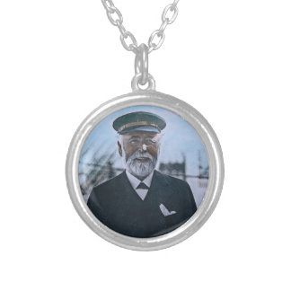 RMS Titanic Captain Edward Smith Vintage Round Pendant Necklace