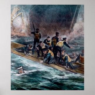 RMS Titanic Crew Members Saved Vintage Poster