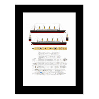 RMS Titanic Drawing and Diagram Postcard