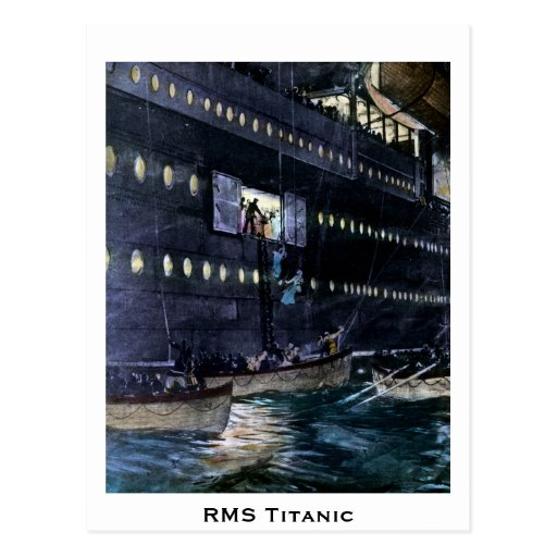 RMS Titanic Escape to the Lifeboats Quickly! Postcards