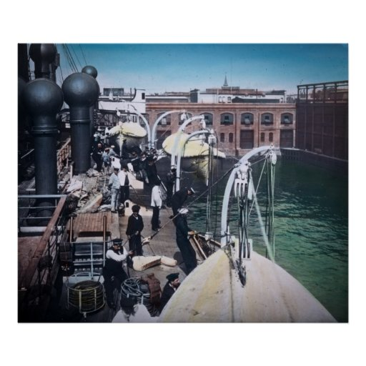 RMS Titanic Finish Touches Lifeboats Print