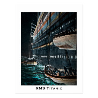 RMS Titanic Launching of the Lifeboats Vintage Postcard
