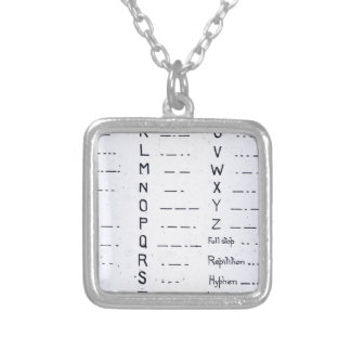 RMS Titanic Morse Code Vintage S.O.S. Square Pendant Necklace