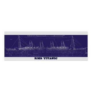 Blueprint posters prints zazzle rms titanic original blueprint enhanced for color poster malvernweather Images