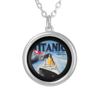 RMS Titanic Travel Ad Round Pendant Necklace