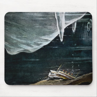 RMS Titanic Under the Sea and Icebergs Vintage Mouse Mat