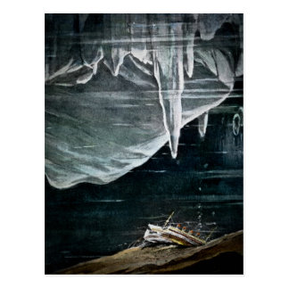 RMS Titanic Under the Sea and Icebergs Vintage Postcard