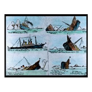RMS Titanic Vintage Illustration of Sinking Postcard