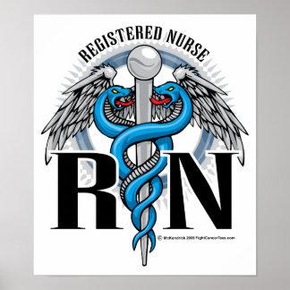 RN Caduceus Blue Posters