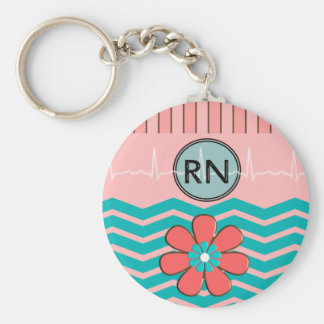 RN Chevron Pattern Pink and Blue Basic Round Button Key Ring