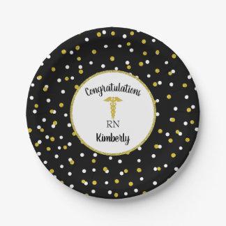 RN graduation party decor, nurse pinning, confetti Paper Plate