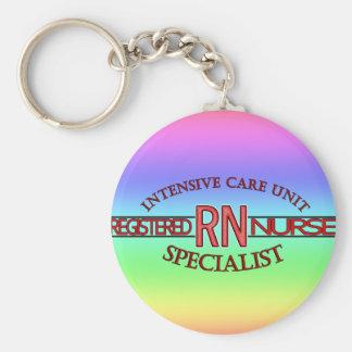 RN ICU SPECIALIST NURSE BASIC ROUND BUTTON KEY RING
