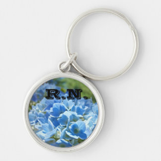 RN keychains Blue Hydrangea Flowers Nurses