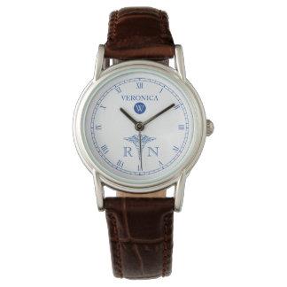 RN Monogram Blue|White Face Nurse Watch
