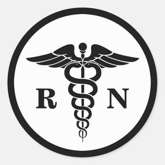 Rn Nurse Caduceus Symbol Classic Medical Classic Round Sticker