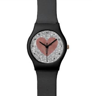 RN Nurse Watch | Caduceus Symbol Rose Gold Heart