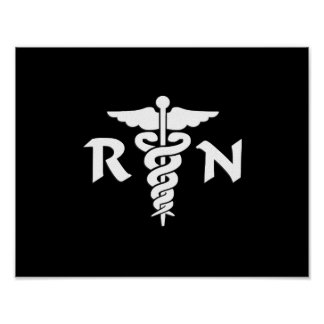 RN Nurses and Medical Symbol Poster