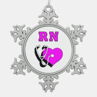 RN Nurses Care Snowflake Pewter Christmas Ornament