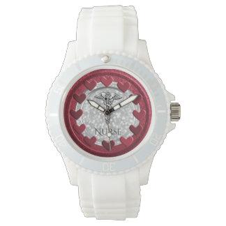 RN Nurses Nursing LPN | Caduceus Symbol Hearts Watch