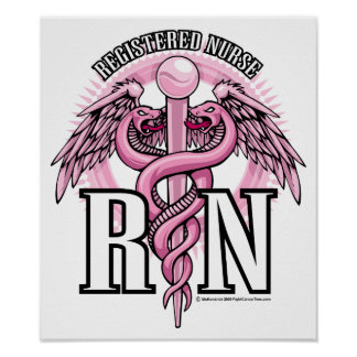 RN Pink Caduceus Poster