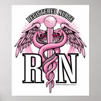 RN Pink Caduceus Posters