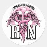 RN Pink Caduceus Round Stickers
