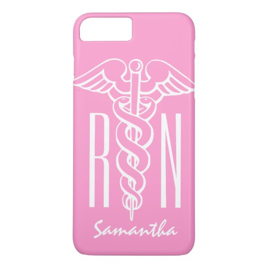 RN Registered Nurse Custom pink caduceus iPhone 8