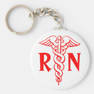 RN Registered Nurse Keychain with caduceus symbol