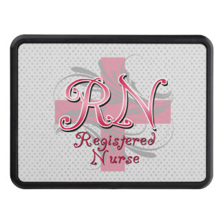 RN Registered Nurse, Pink Cross Swirls Tow Hitch Cover