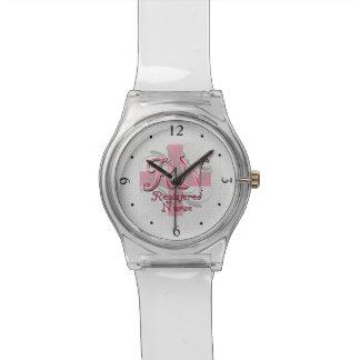RN Registered Nurse, Pink Cross Swirls Watch